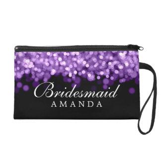 Elegant Bridesmaid Favor Purple Lights Wristlet Purse