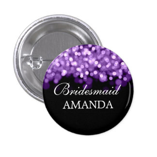 Elegant Bridesmaid Favor Purple Lights Button