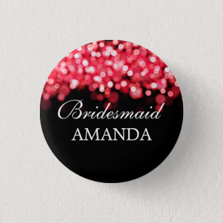 Elegant Bridesmaid Favor Red Lights Button