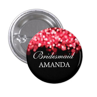 Elegant Bridesmaid Favor Red Lights Button