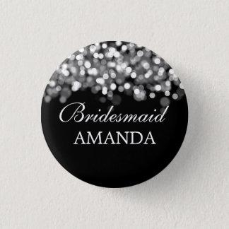 Elegant Bridesmaid Favor Silver Lights Pinback Button
