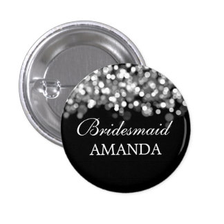 Elegant Bridesmaid Favor Silver Lights Pinback Button