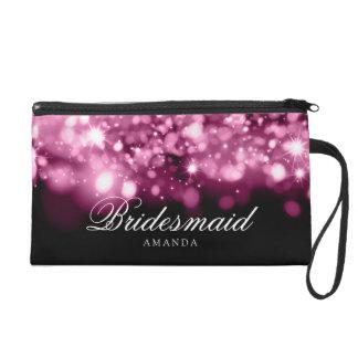 Elegant Bridesmaid Favor Sparkling Lights Pink Wristlet Purse