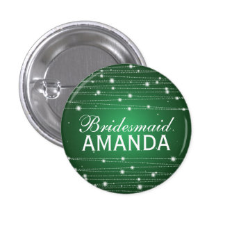 Elegant Bridesmaid Favor Sparkling Lines Emerald Pinback Button