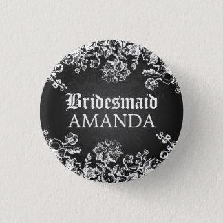 Elegant Bridesmaid Favor Victorian Flourish Black Pinback Button