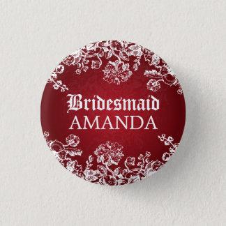 Elegant Bridesmaid Favor Victorian Flourish Red Button