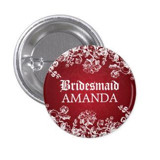 Elegant Bridesmaid Favor Victorian Flourish Red 1 Inch Round Button