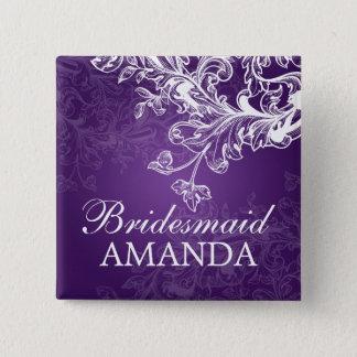 Elegant Bridesmaid Favor Vintage Swirls Purple Button