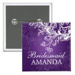 Elegant Bridesmaid Favor Vintage Swirls Purple 2 Inch Square Button