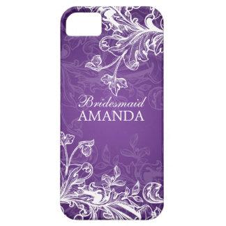 Elegant Bridesmaid Favor Vintage Swirls Purple iPhone 5 Cases