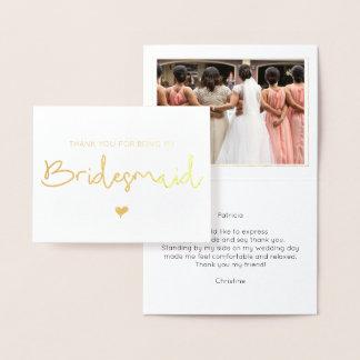 Elegant Bridesmaid Thank You Photo Gold Foil Card