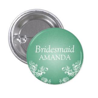 Elegant Bridesmaid Vintage Swirls 2 Mint Button