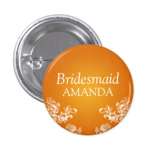 Elegant Bridesmaid Vintage Swirls 2 Orange Pinback Button