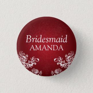 Elegant Bridesmaid Vintage Swirls 2 Red Pinback Button