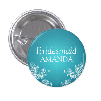 Elegant Bridesmaid Vintage Swirls 2 Turquoise Button