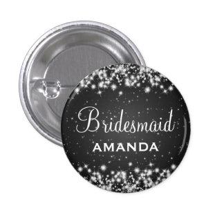 Elegant Bridesmaid Winter Sparkle Black Pinback Button