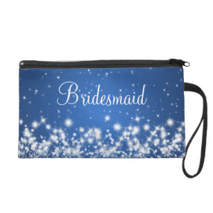 Elegant Bridesmaid Winter Sparkle Blue Wristlet Purse