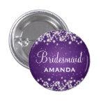 Elegant Bridesmaid Winter Sparkle Purple 1 Inch Round Button