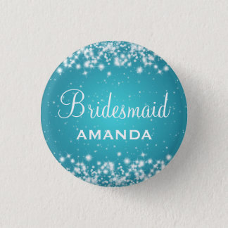 Elegant Bridesmaid Winter Sparkle Turquoise Button