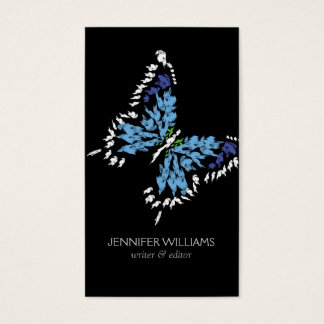 ELEGANT BRIGHT BLUE BUTTERFLY LOGO on BLACK Business Card