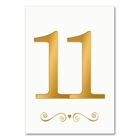 elegant bright gold faux metallic number 11 table number