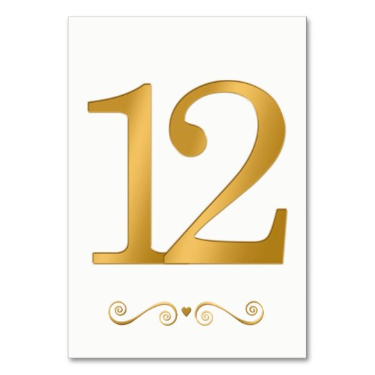 elegant bright gold faux metallic number 12 table number