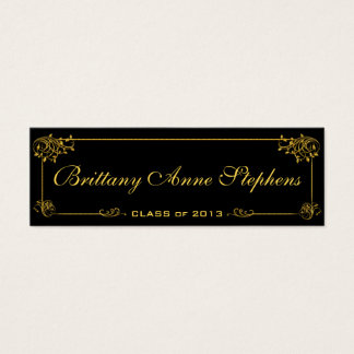 Elegant Bright Gold Graduation Name Card Insert