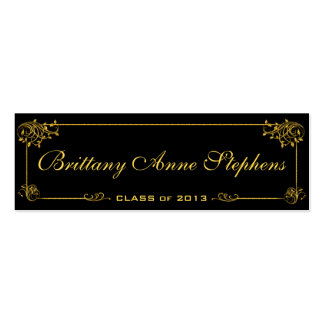 Elegant Bright Gold Graduation Name Card Insert Business Card Template