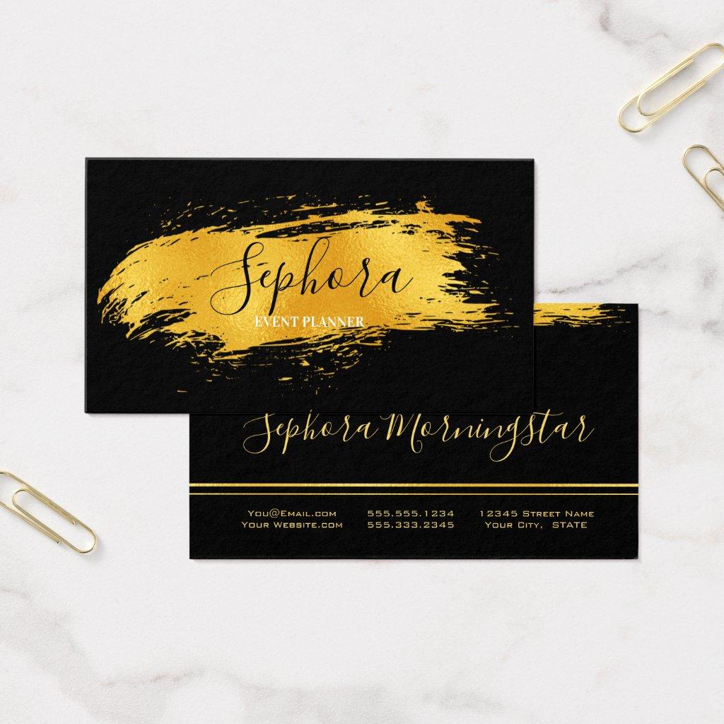 Elegant Bright Gold Metallic Foil Paint Stroke