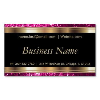 Elegant Bright Pink and Black and Gold Magnetic Business Card