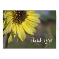 Elegant, bright summer yellow sunflower thank you card