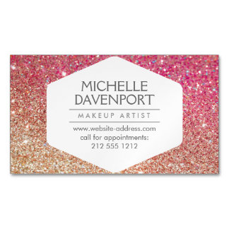 Elegant Bronze/Pink Glitter Magnetic Business Card