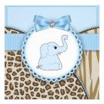 Elegant Brown and Blue Elephant Baby Shower Invitation