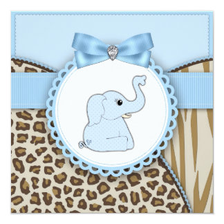 Elegant Brown and Blue Elephant Baby Shower Invitation