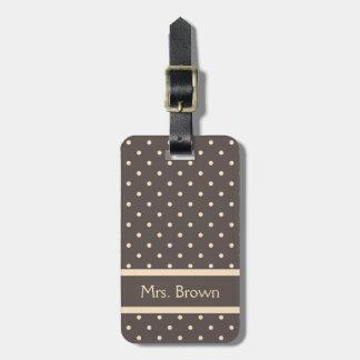 Elegant Brown and Cream Polka Dots Luggage Tag