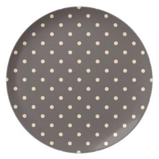 Elegant Brown and Cream Polka Dots Melamine Plate