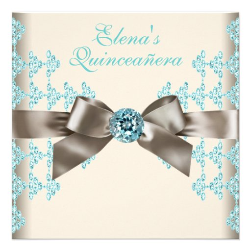 Elegant Brown and Teal Blue Quinceanera Personalized Invites