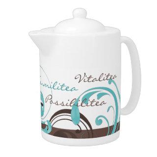 Elegant Brown Aqua Blue Abstract Flourish Teapot