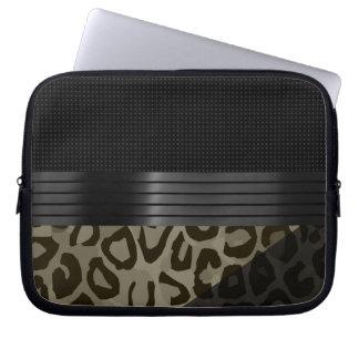 Elegant Brown Black Cheetah Computer Sleeves