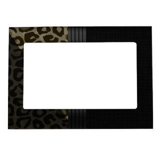 Elegant Brown Black Cheetah Magnetic Photo Frame