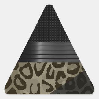 Elegant Brown Black Cheetah Triangle Sticker