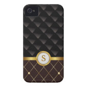 Elegant Brown & Black Diamonds with Gold Monogram iPhone 4 Cover