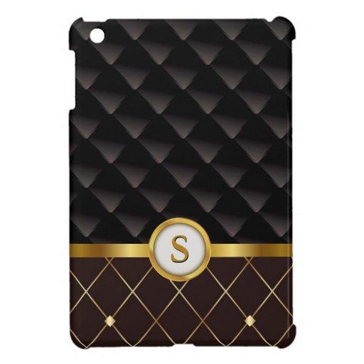 Elegant Brown & Black Diamonds with Gold Monogram Case For The iPad Mini