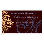 Elegant Brown Blue and Gold damask Name Cards Business Card