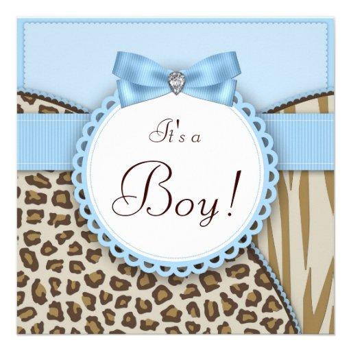 Elegant Safari Baby Shower: Elegant Brown And Blue Baby Boy Shower 5.25x5.25 Square
