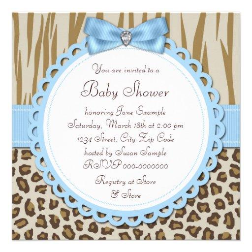 Elegant Brown Blue Baby Boy Shower Invitations (back side)
