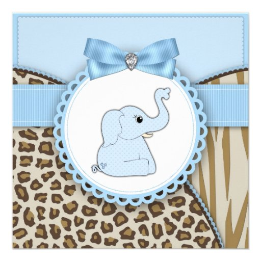 Elegant Brown Blue Elephant Baby Boy Shower Invitation