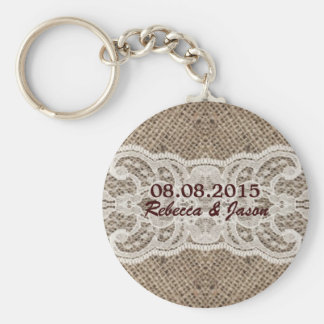 elegant brown burlap lace country wedding keychain