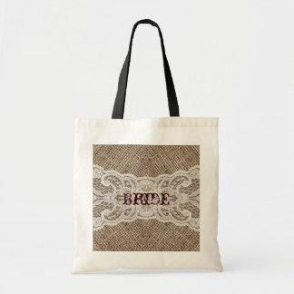 elegant brown burlap lace country wedding tote bag