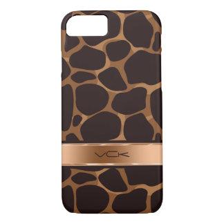 Elegant Brown & Copper Leopard Print iPhone 8/7 Case